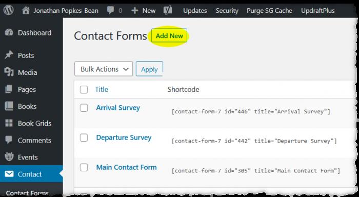Screenshot of Contact screen in dashboard