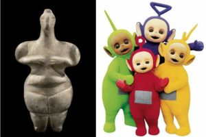 Thessaly Fertility goddess, circa 5000 BC, vs Teletubbies.