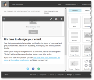 MailChimp memo design screen