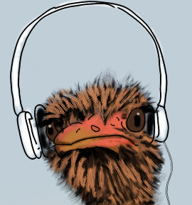 ostrich wearing headset