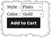 Add to cart button, with fields to select style and color
