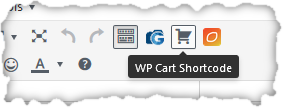 WP Cart Shortcode button in editor toolbar
