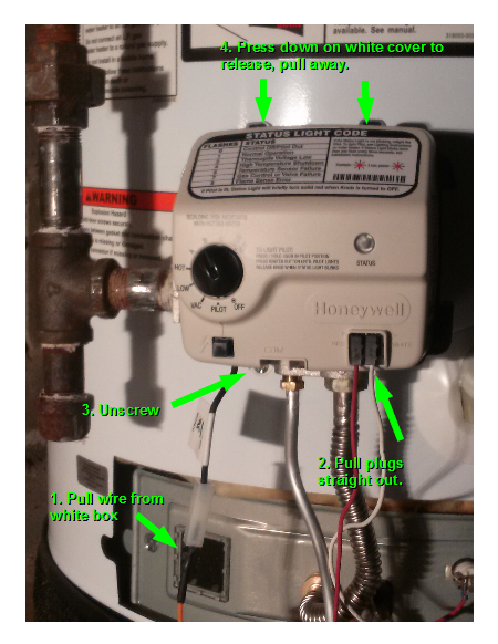 steps resetting the $%@!!* honeywell gas valve on a water heater tyler tork